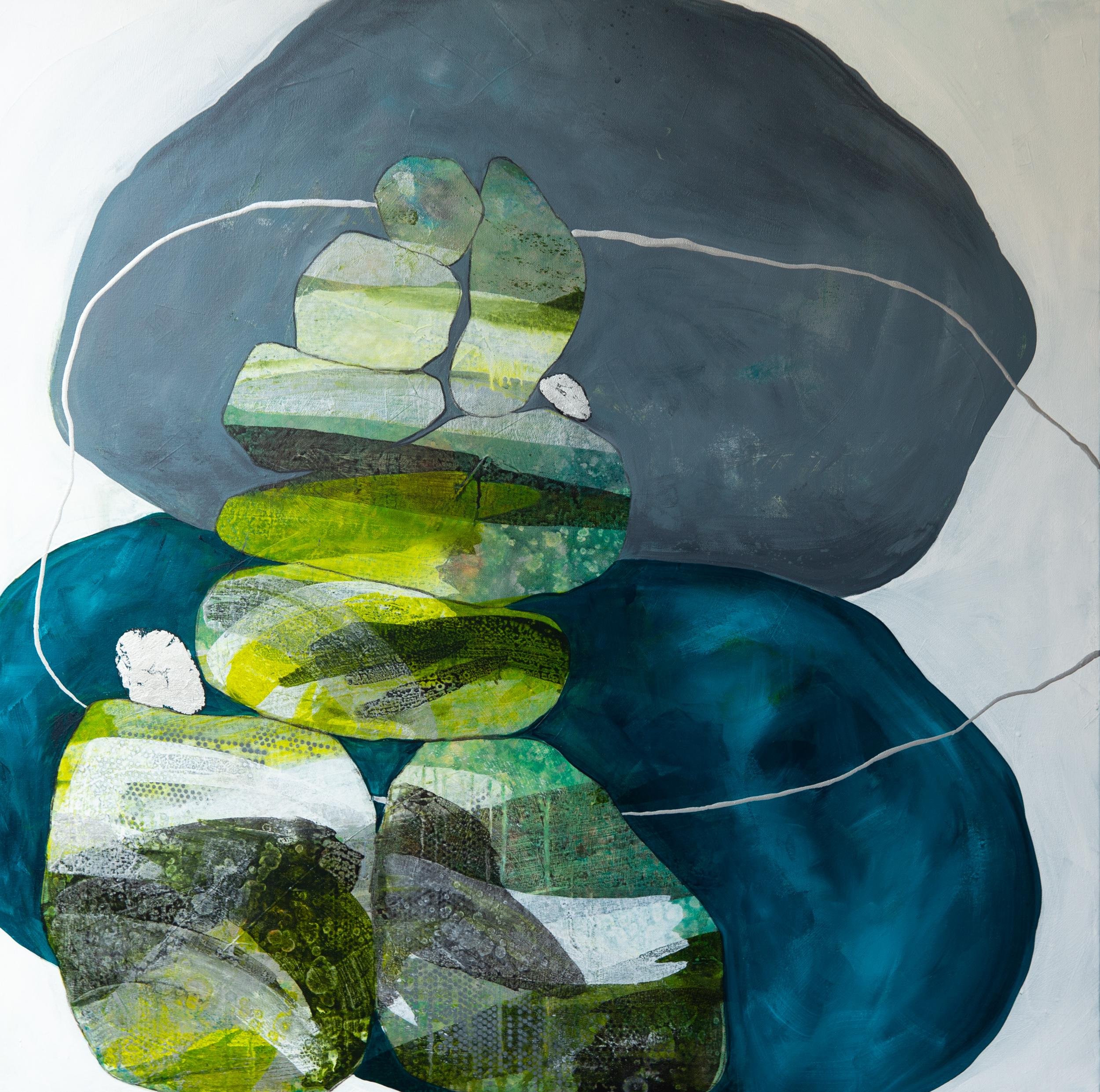 """""""Green Cairns I"""" 36x36"""