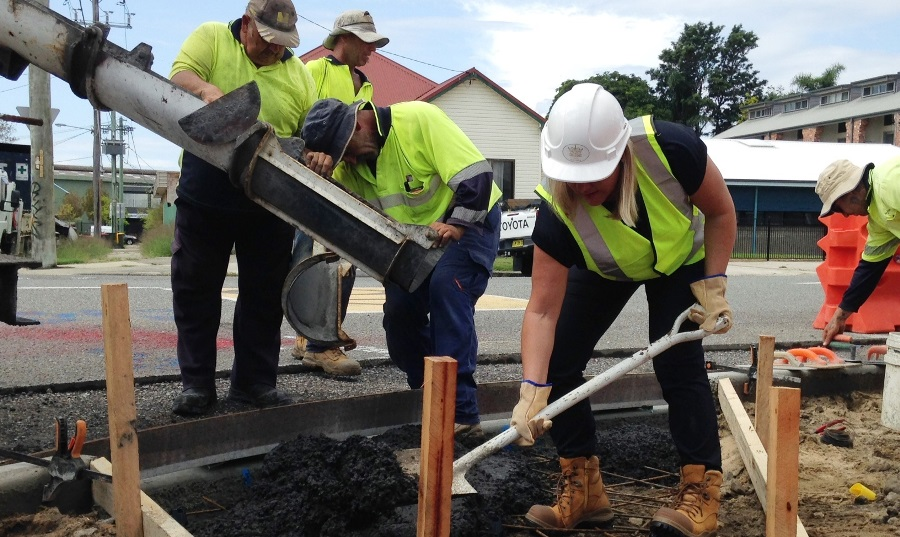 Lord Mayor Nuatali Nelmes helping out during the first cement pour