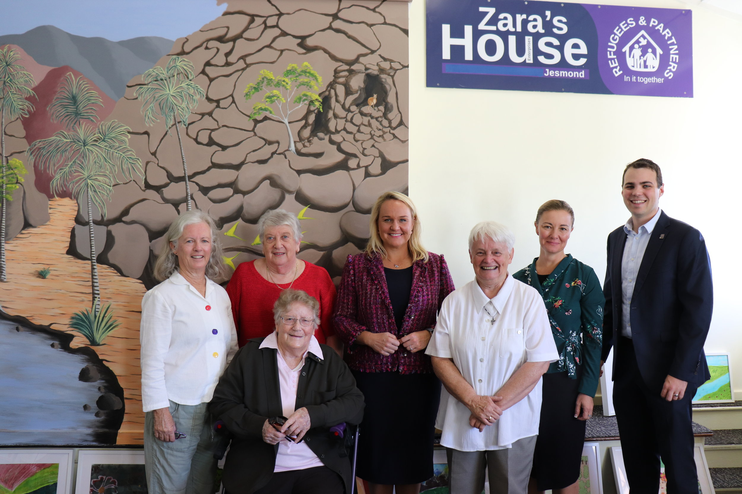 Lord Mayor Cr Nuatali Nelmes, Deputy Lord Mayor Cr Declan Clausen and Cr Peta Winney-Baartz pictured with Zara's House Founder and Director, Sister Di Santleben and the Zara's House Executive