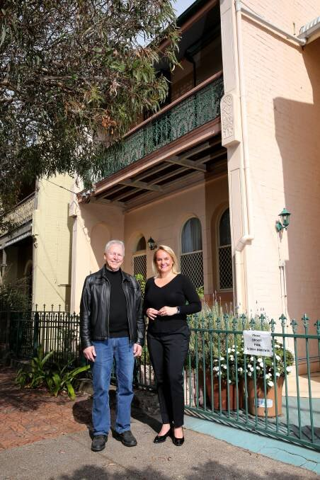 CONSERVATION: Hamilton resident Rod Noble with Newcastle Lord Mayor Nuatali Nelmes in front of Rod's freestanding terrace house in Lawson Street, Hamilton.