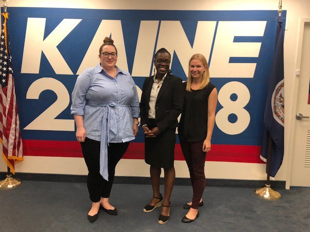 2018 Midterm Elections: Kaine Campaign Training - During the 2018 midterm elections, Purple Campaign President Ally Coll and Bright Compass Founder Dallas Thompson led a workplace sexual harassment prevention training at Kaine campaign headquarters in Virginia.