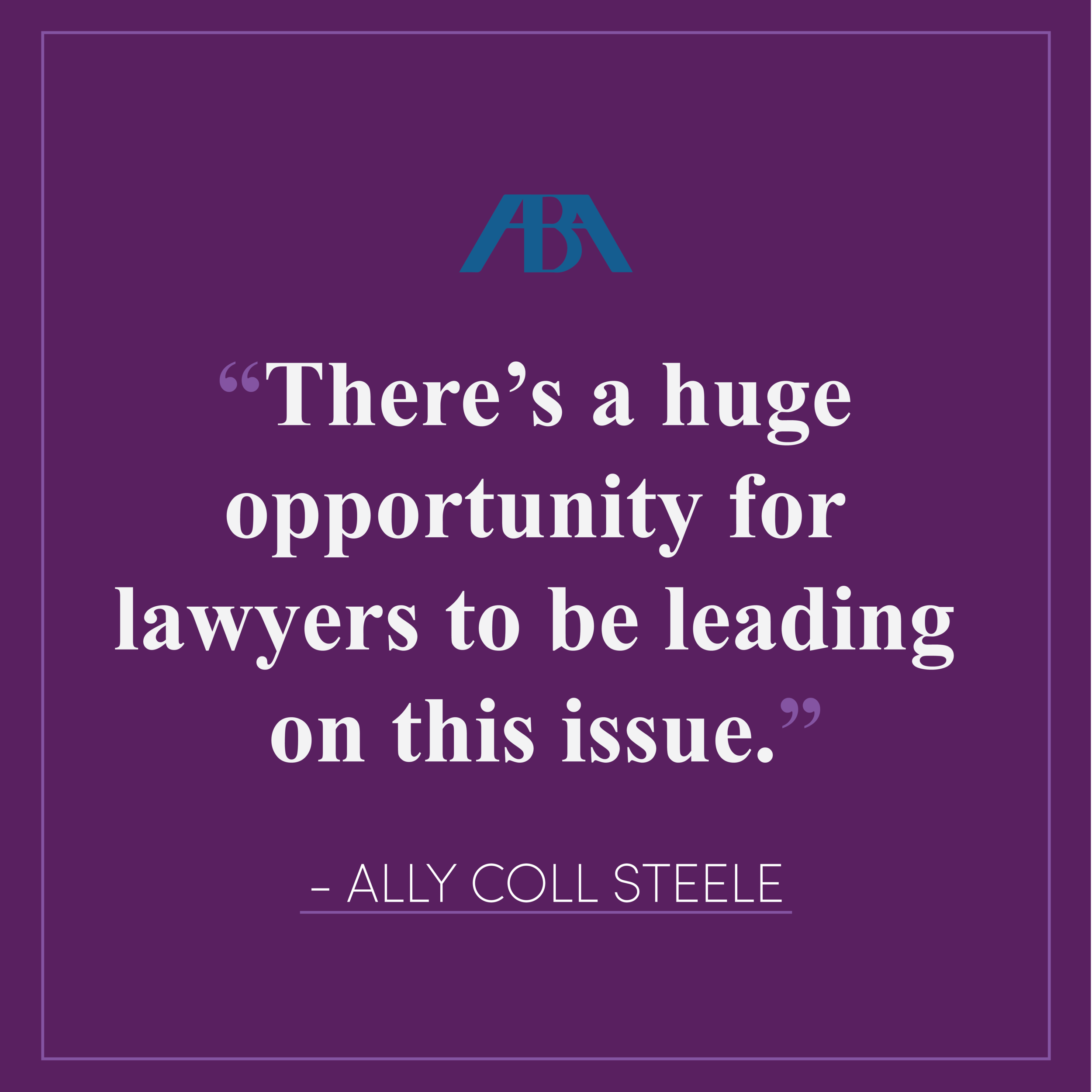 "Is Time Really Up for Sexual Harassment in the Workplace? Companies and Law Firms Respond - Purple Campaign President Ally Coll discusses how the legal community can help create a cultural shift concerning workplace sexual harassment. Read the full article here.""There's a huge opportunity for lawyers to be leading on this issue,"" says Coll, noting that in-house lawyers, for example, often take the lead on developing policies and practices. ""Law firms are often advising employers and clients on these issues, even for other law firms."""