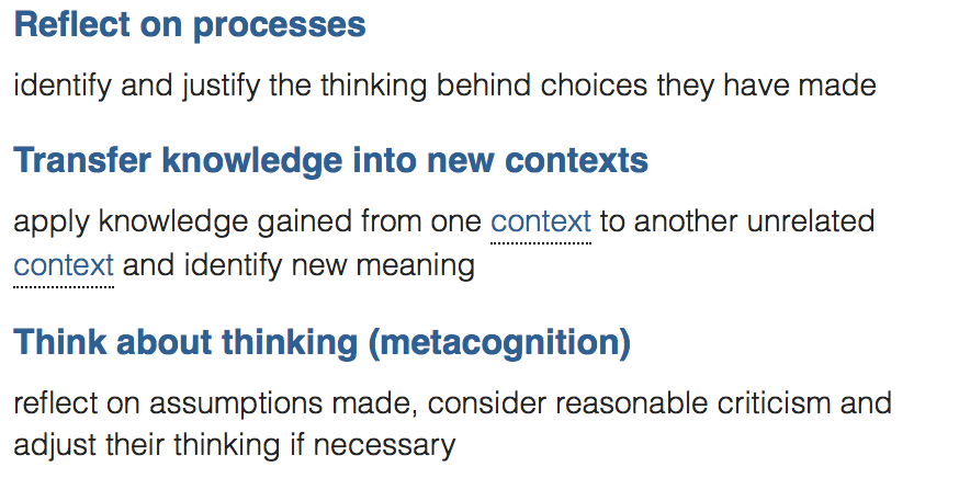 These capabilities link to interdisciplinary thinking and reflection and evaluation (science). Think about these as possible goals for a workshop, after delving into the scientific method...