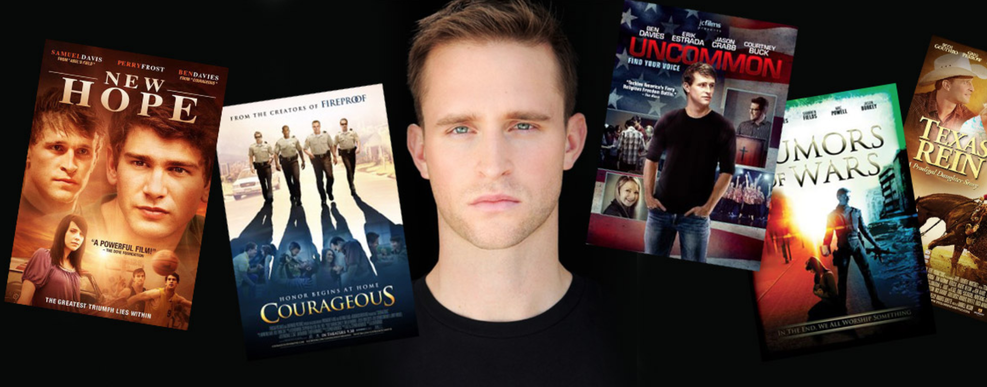 Ben Davies was a college track & field star and is now a leading faith-based film star.