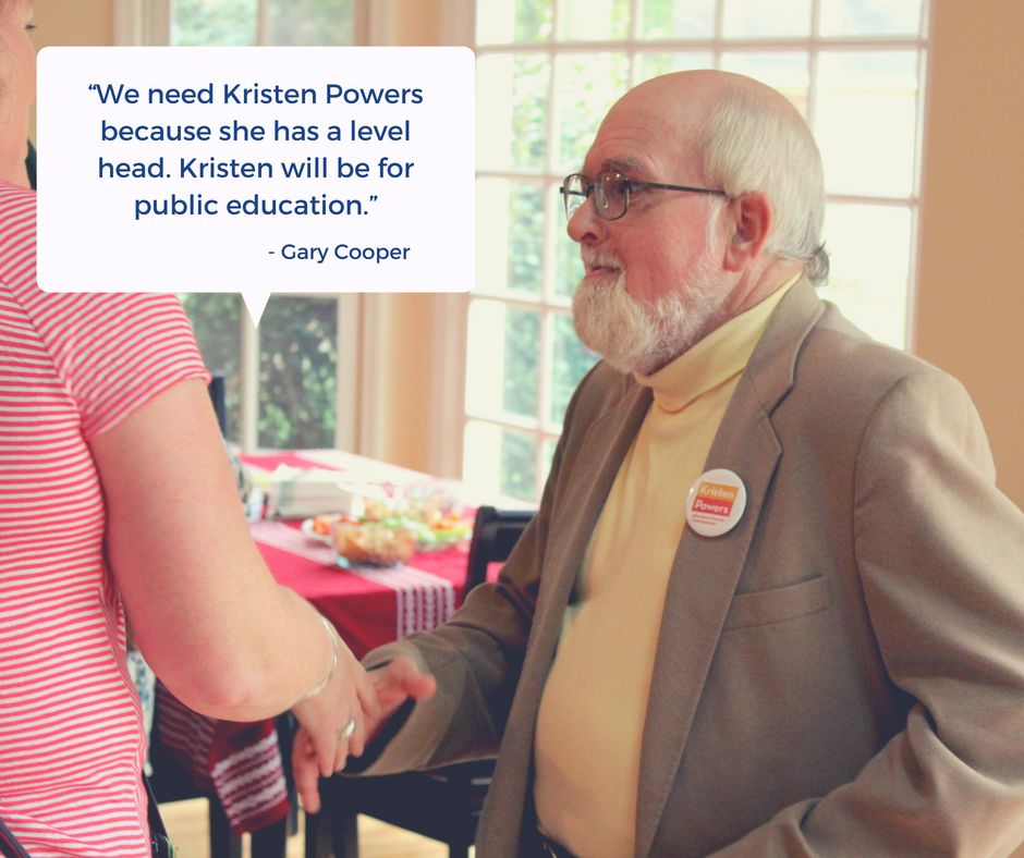 Caption: Gary Cooper wears a Kristen Power's campaign pin.