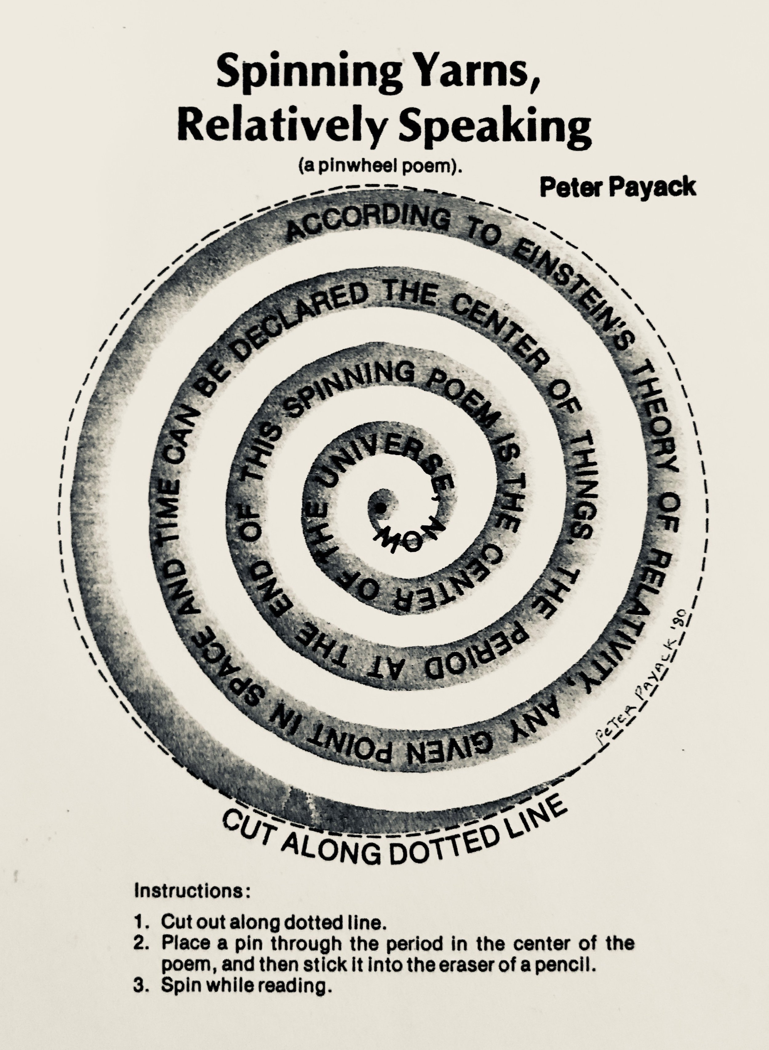 """This """"pinwheel"""" poem, by science fiction poet Peter Payack, originally appeared in """" Creative Computing Magazine """" in 1979, where Payack was a contributing editor since 1975."""