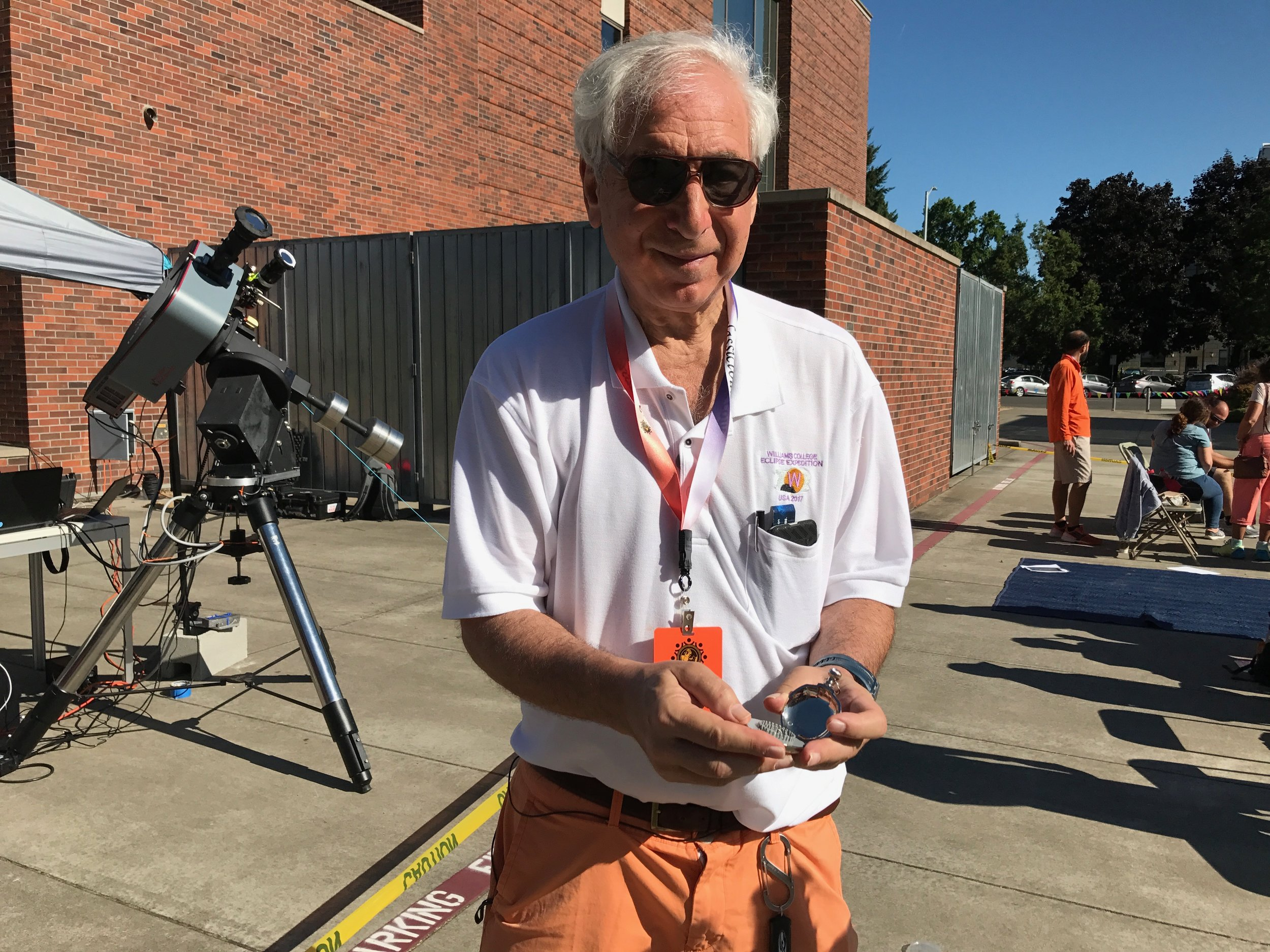 Esteemed astronomer Jay Pasachoff, with The Stonehenge Watch™, at the epicenter of the Great American Eclipse 2017, in Salem, Oregon.