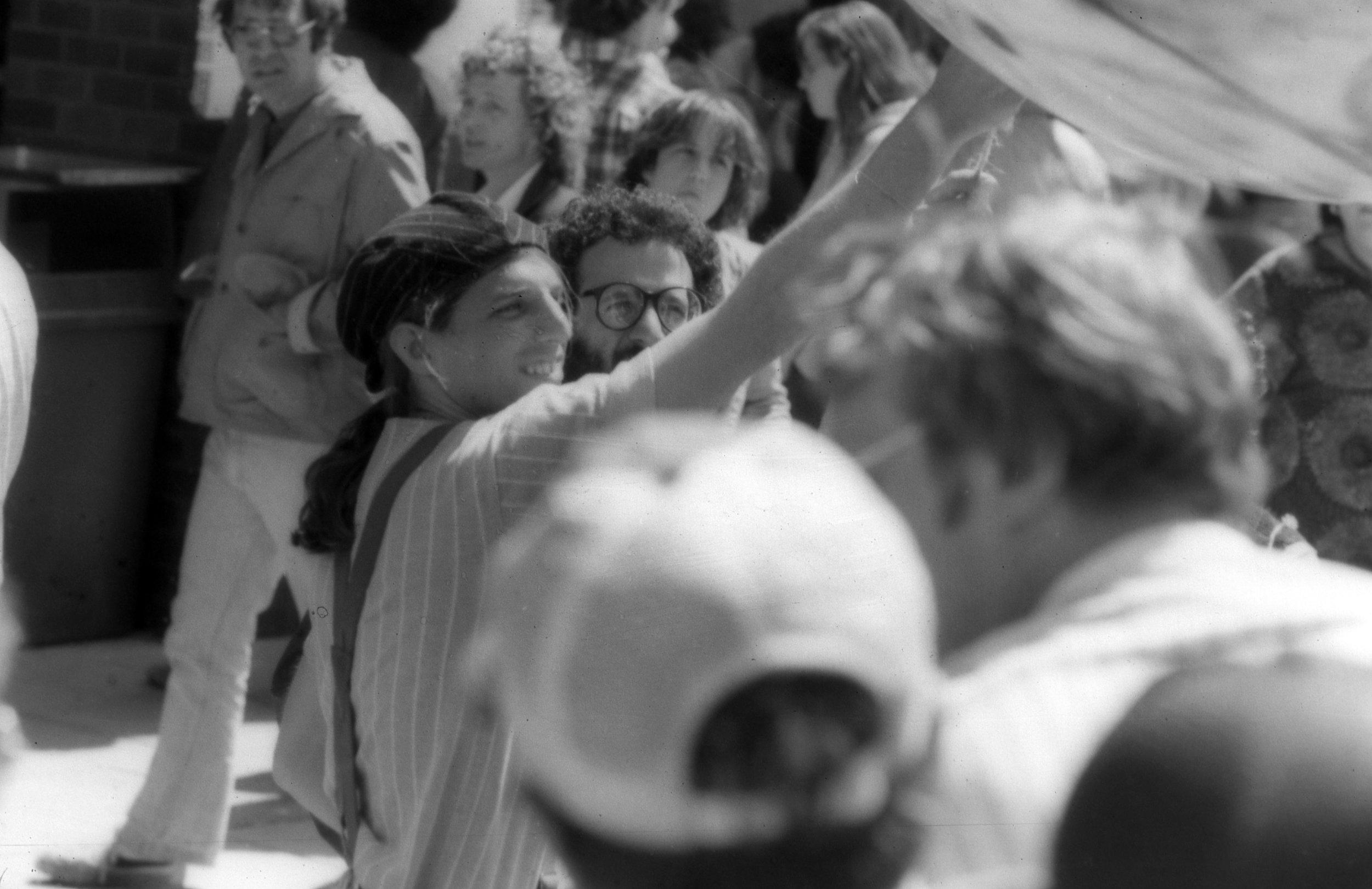 "Poet Peter Payack with Steve Sharpe and Mark Goldberg at Harbor fest, 1980, at University of Massachusetts, Boston launching inflating ""Jupiter"" a giant poetry balloon."
