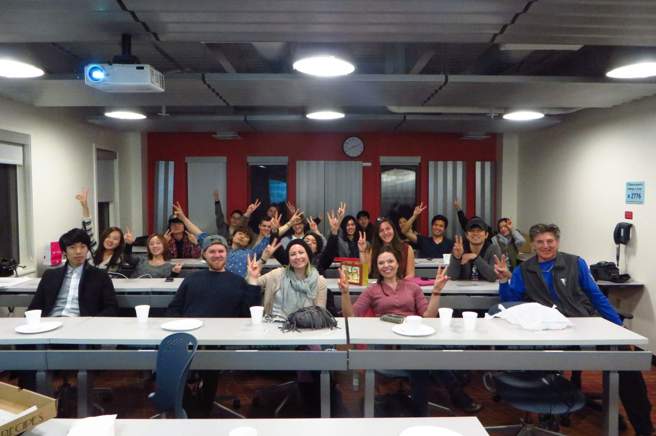 Iconic rock and roll photographer Henry Diltz snapped this photo of students in Peter Payack's writing course at Berklee College of Music in Boston.  (Listen to WBUR audio)