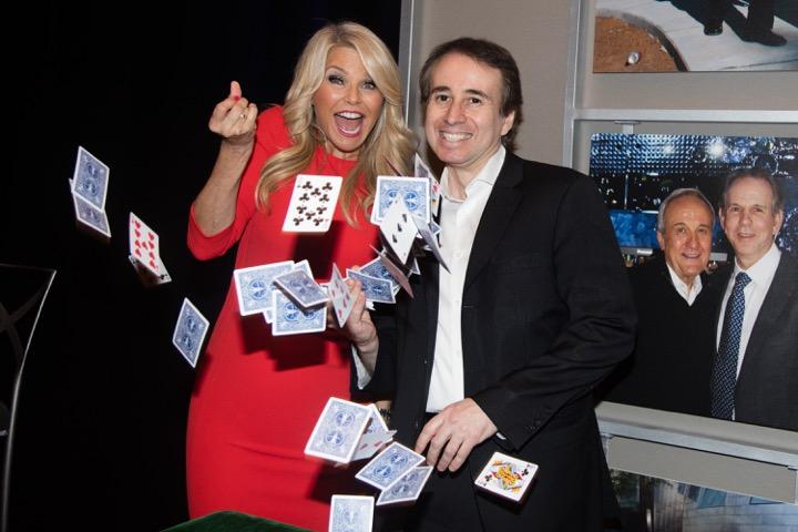 Christie Brinkley with corporate magician Lou Serrano