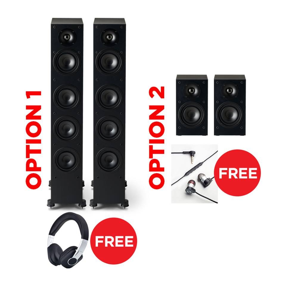 *FREE Stuff  - *with Purchase of select Paradigm speakers.  See below:Purchase Paradigm Monitor SE 6000F floor-standing speakers and receive H15NC noise-cancelling headphones - $349 Value!Purchase Paradigm Monitor SE bookshelf speakers and receive E3i in-ear headphones - $159 Value.Offers end Sept 4, 2018.This is a mail-in offer and copy of purchase receipt with qualifying model to be sent with your mailing address to Paradigm via Facebook message only.