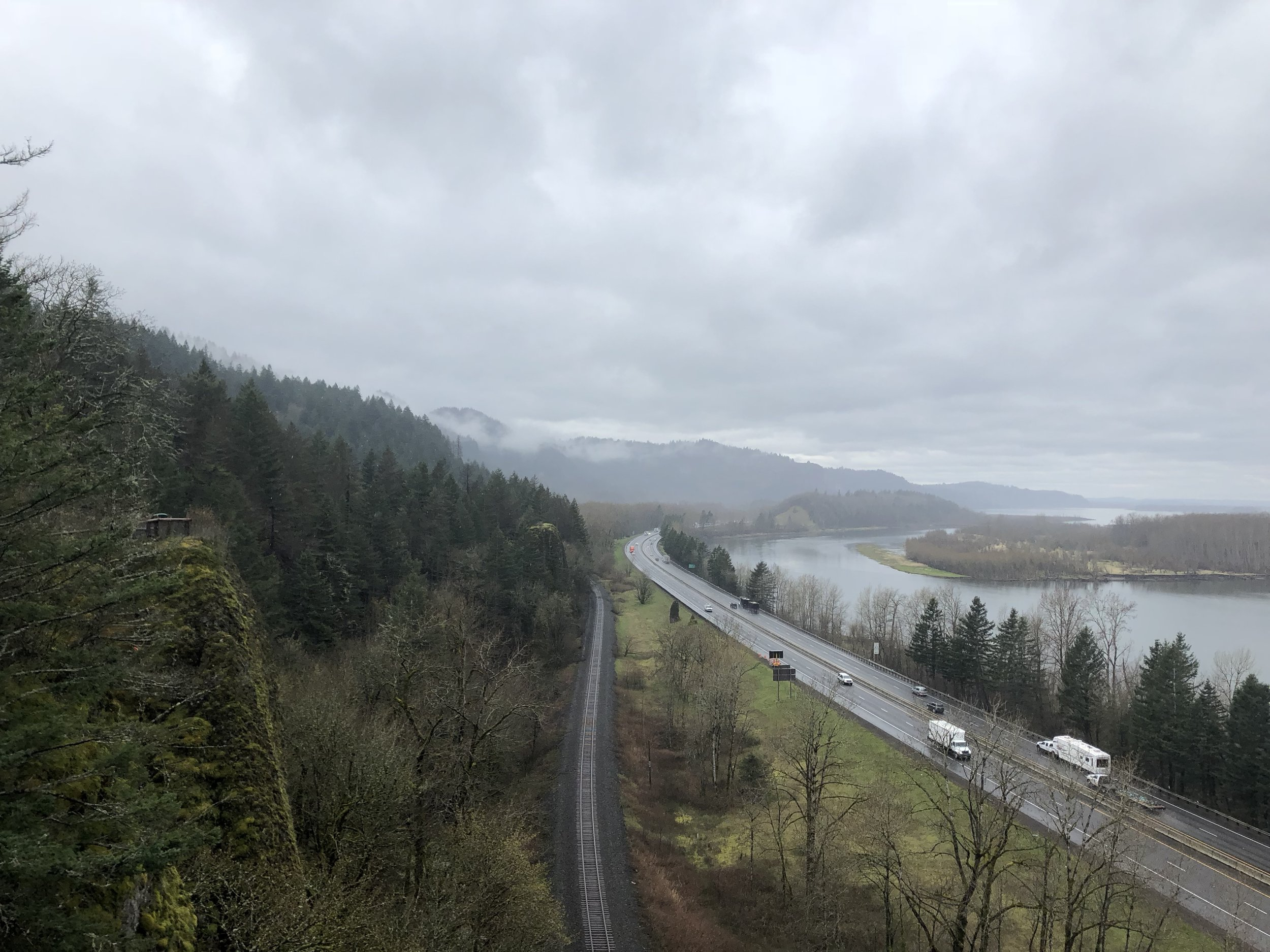 This is the view from a short hike at the Bridal Veil Falls' parking lot. It is the Columbia river that divides Oregon from Washington State.