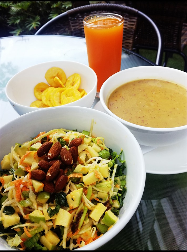 Salad plantain chips and soup