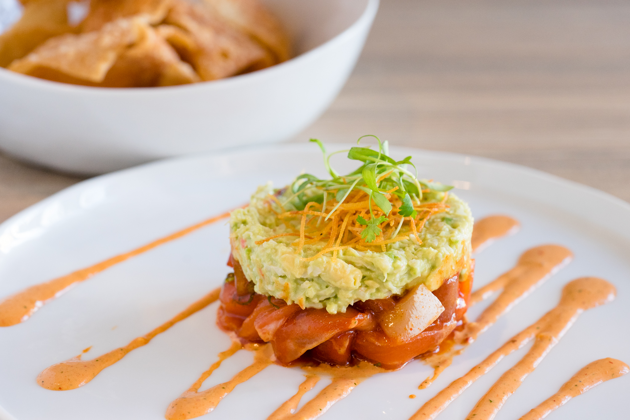 Raw Fish and Guacamole with Wonton Chips