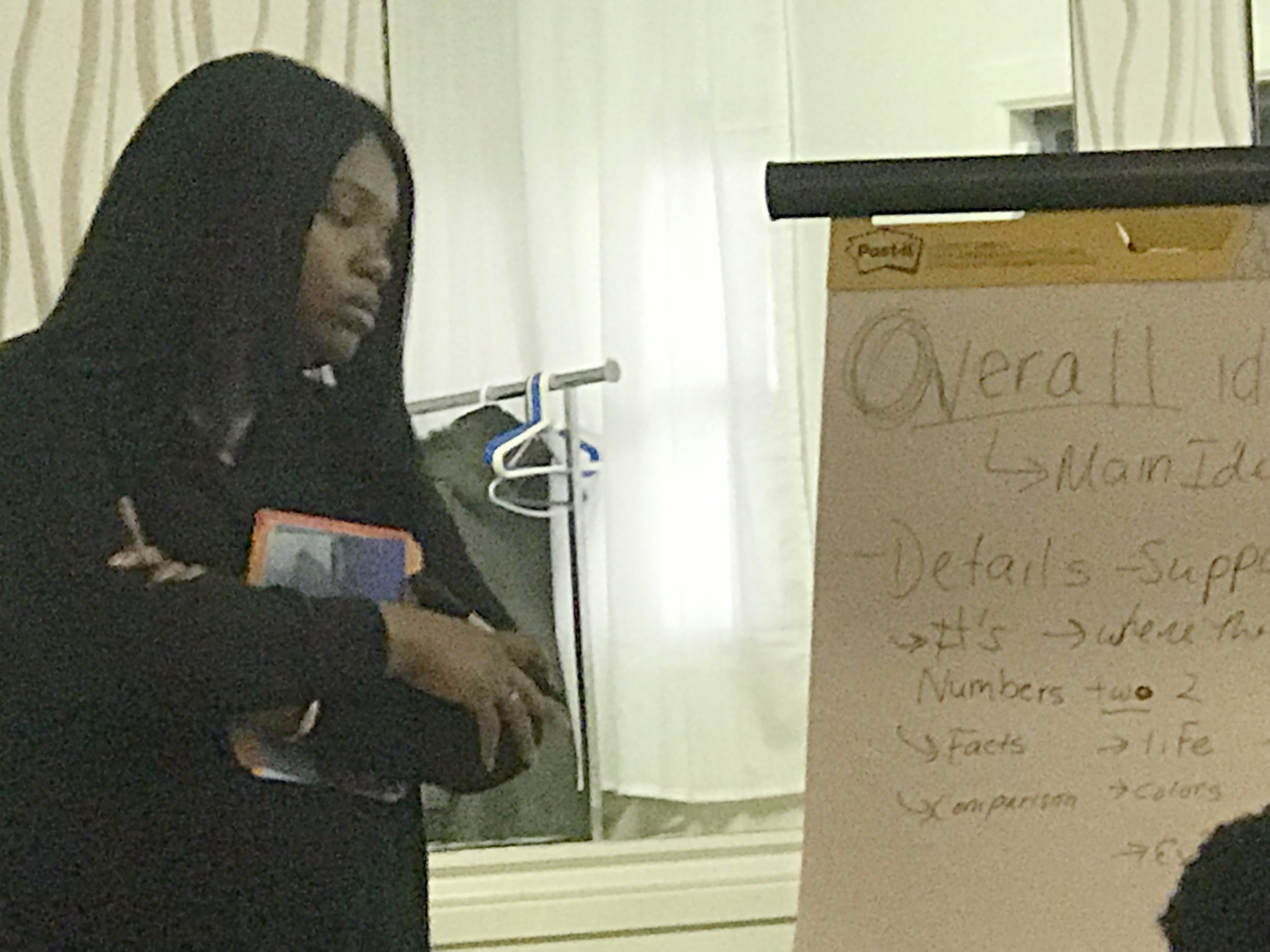 Small Group Instruction & Workshops with Community Partners - Our Founder watches on attentively as attendees of our SPRING 2018 ELA WORKSHOP respond to: