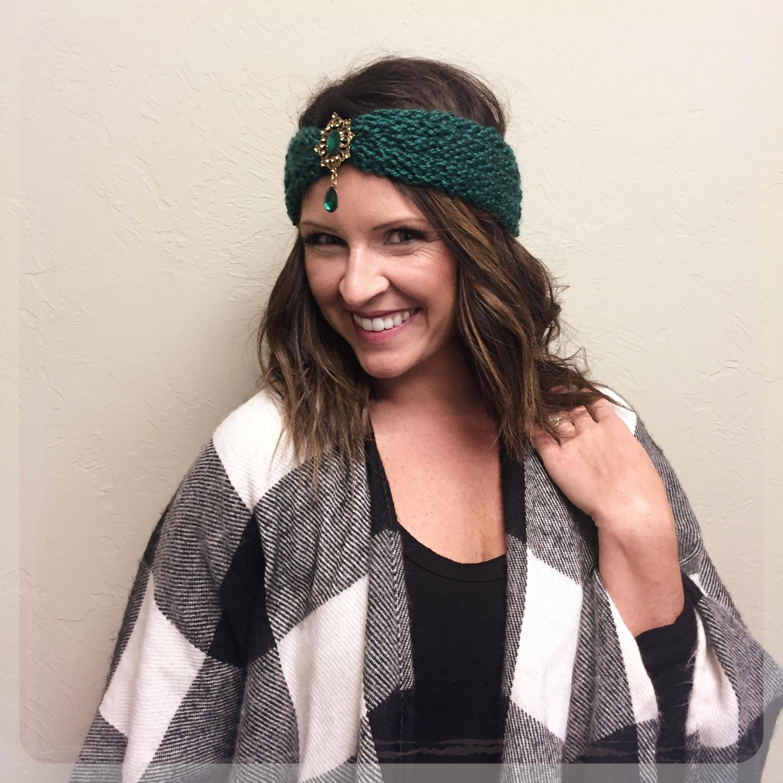Turban Style Ear Warmer Vintage Broach Free Pattern Knit
