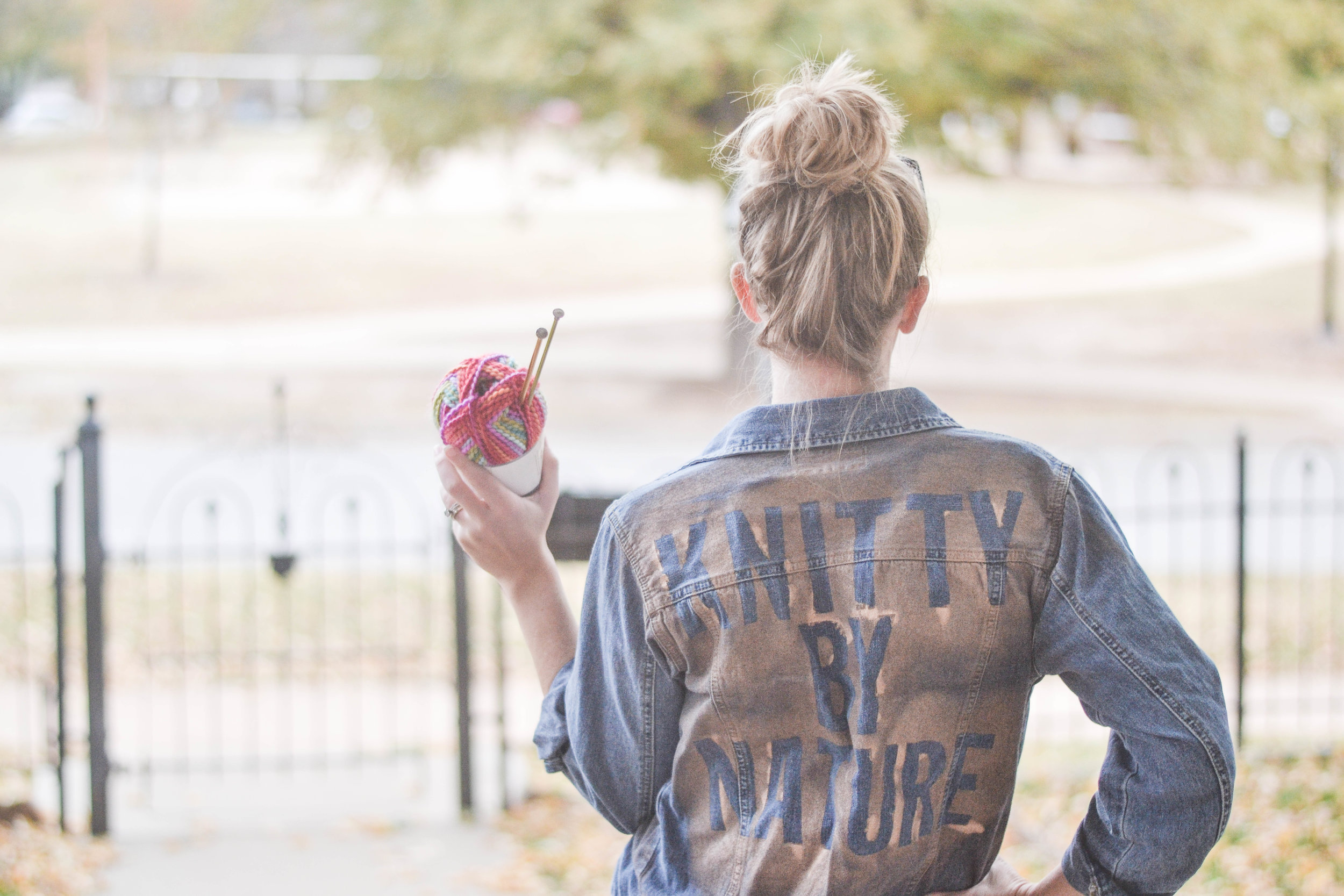 DIY Knitty by nature mantra painted mantra jacket