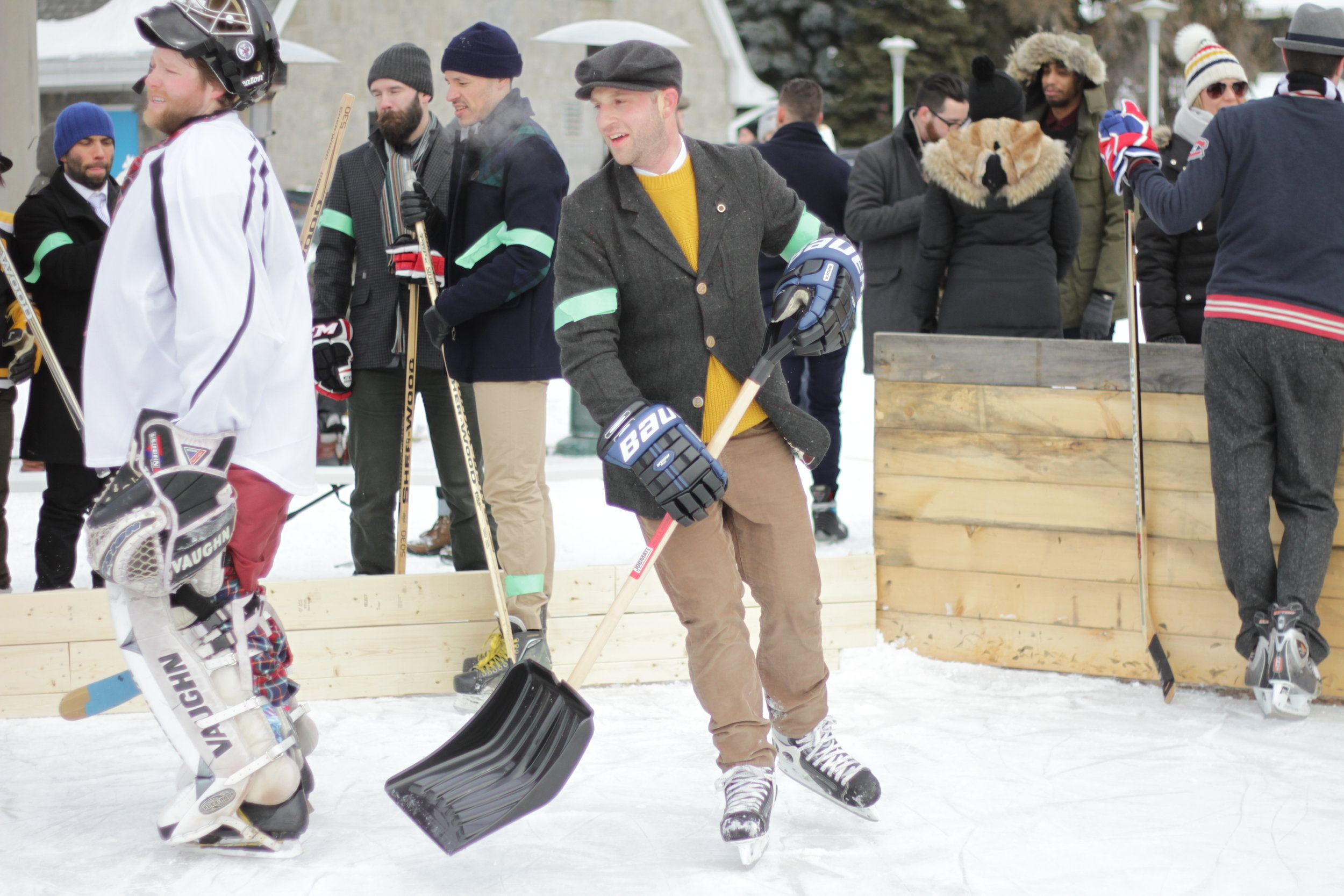 """The Clearing - During intermissions of a match, spectators are invited to go onto the ice to participate in a WRG Classic tradition called """"the clearing"""", which has developed to not only help clear the mounds of ice shavings that has piled up by the players skates, but to afford spectators an opportunity to slide about and socialize."""