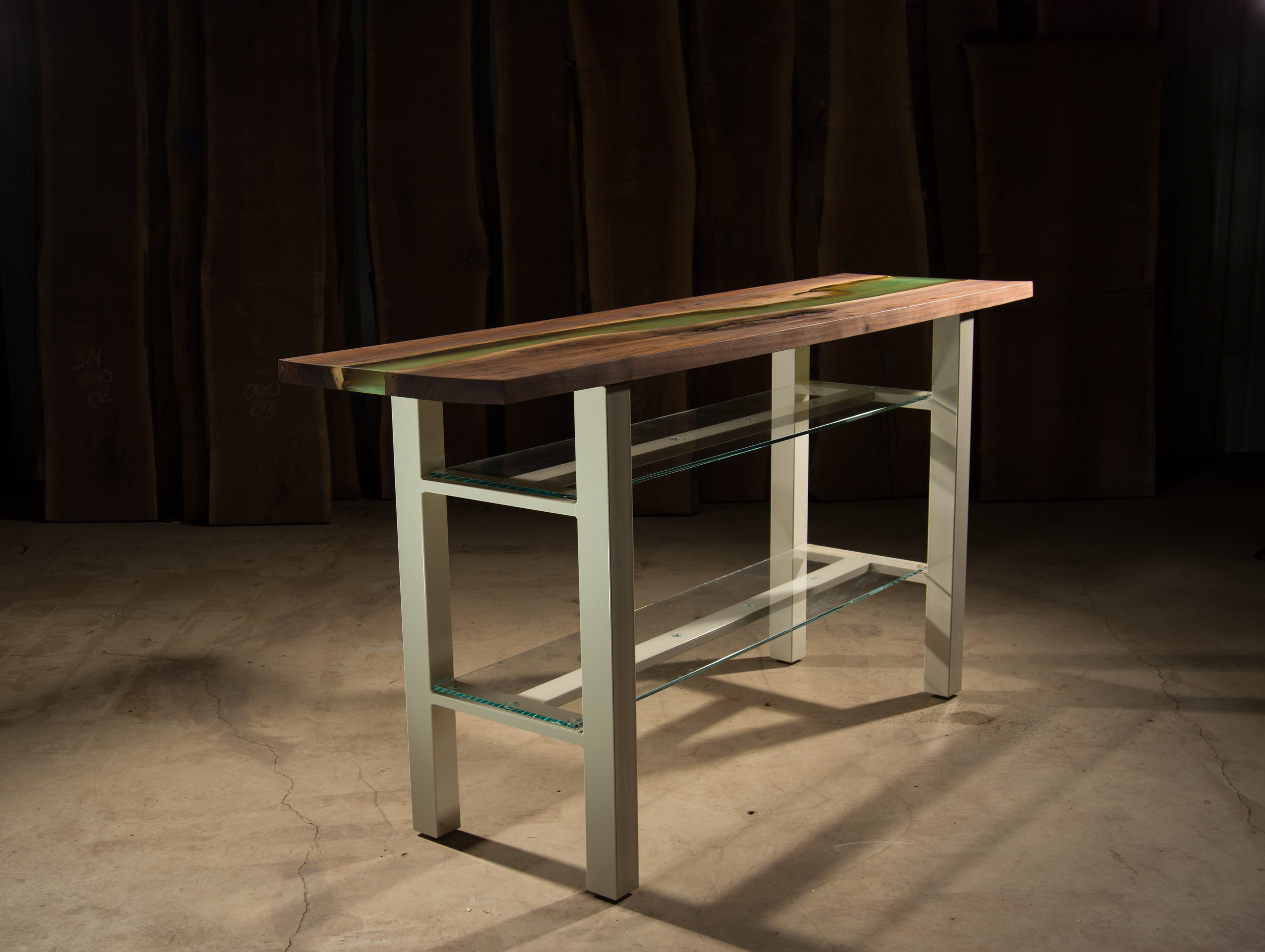 Small Bar Base W/ Glass Shelves (White Powder Coat)