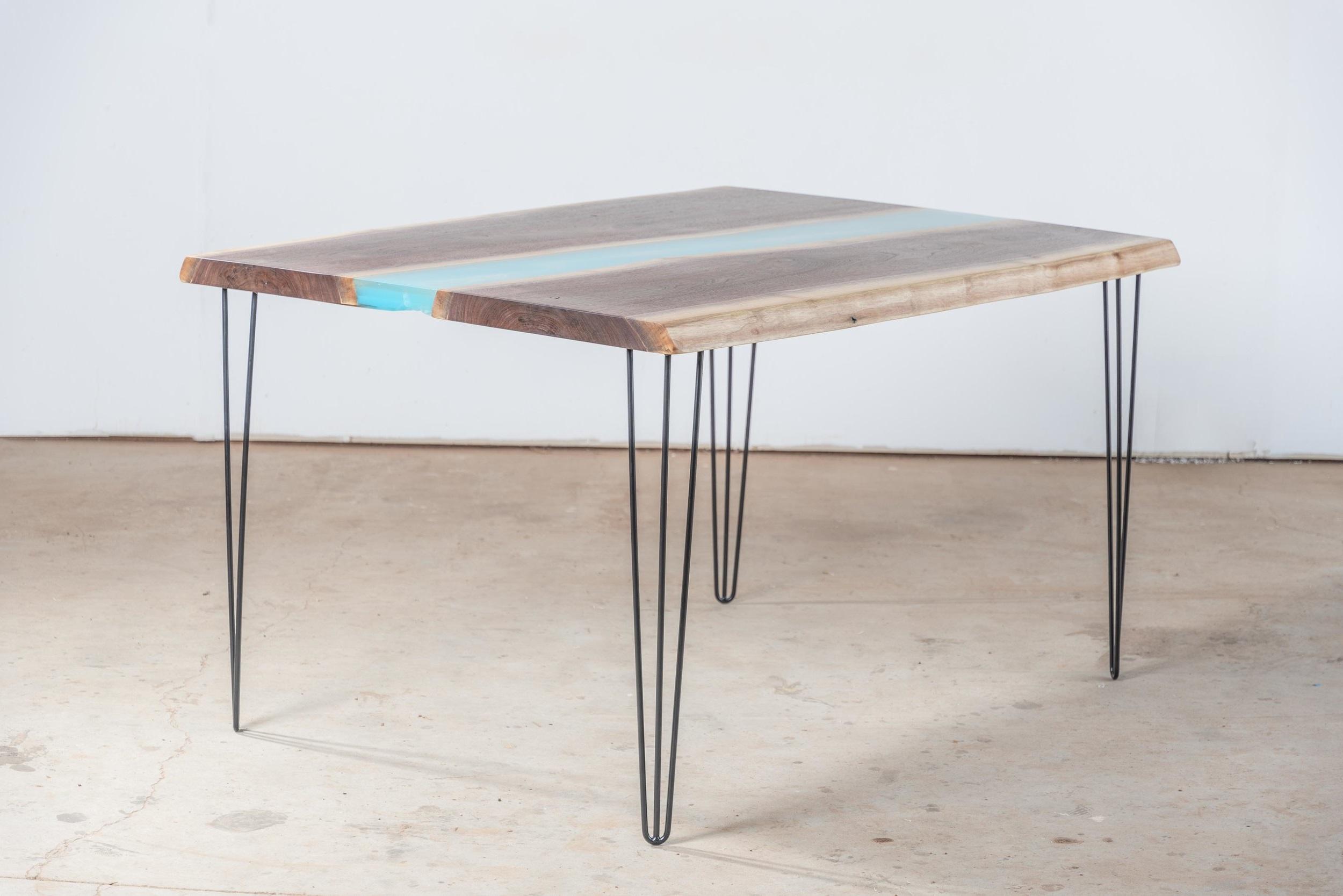 """""""Smoke Jumper"""" - Blue Water Resin Breakfast Table - $6,800"""