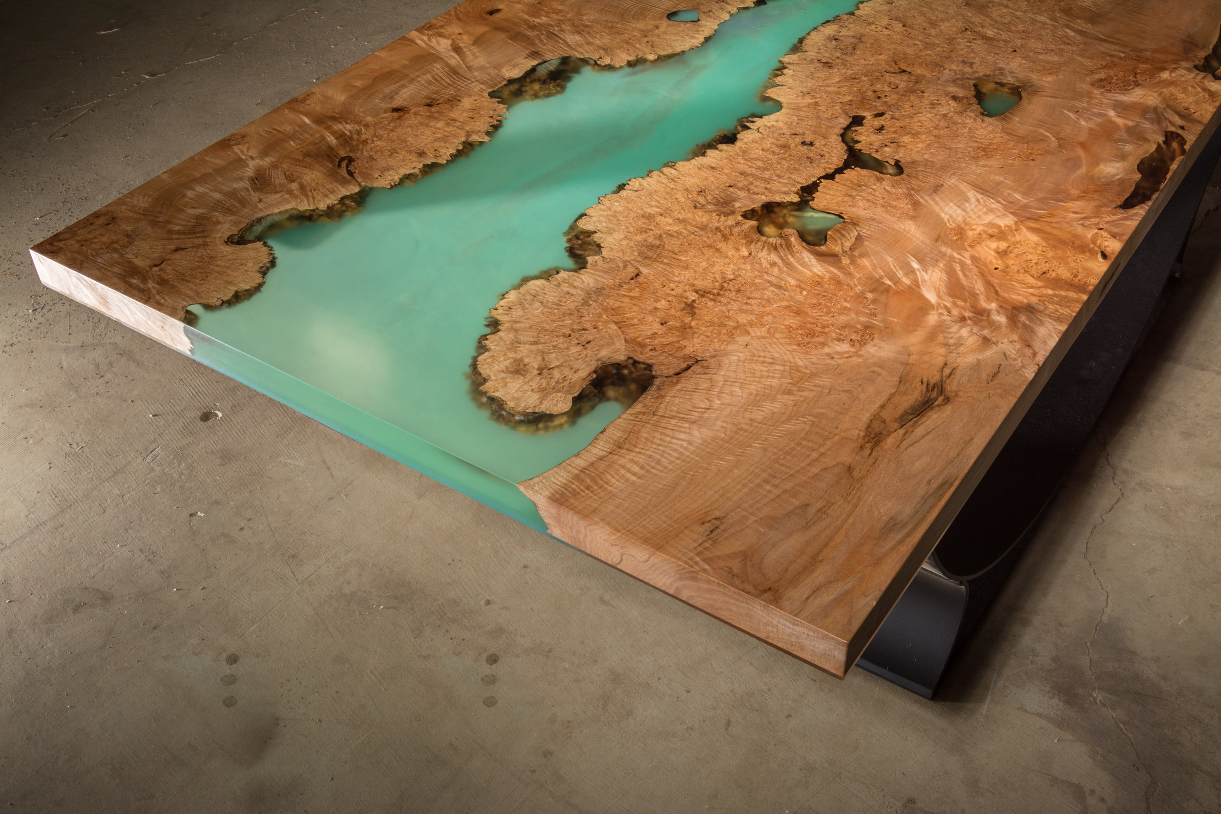 Live Edge Blue Water Resin Table Top (Pacific Burled Maple)