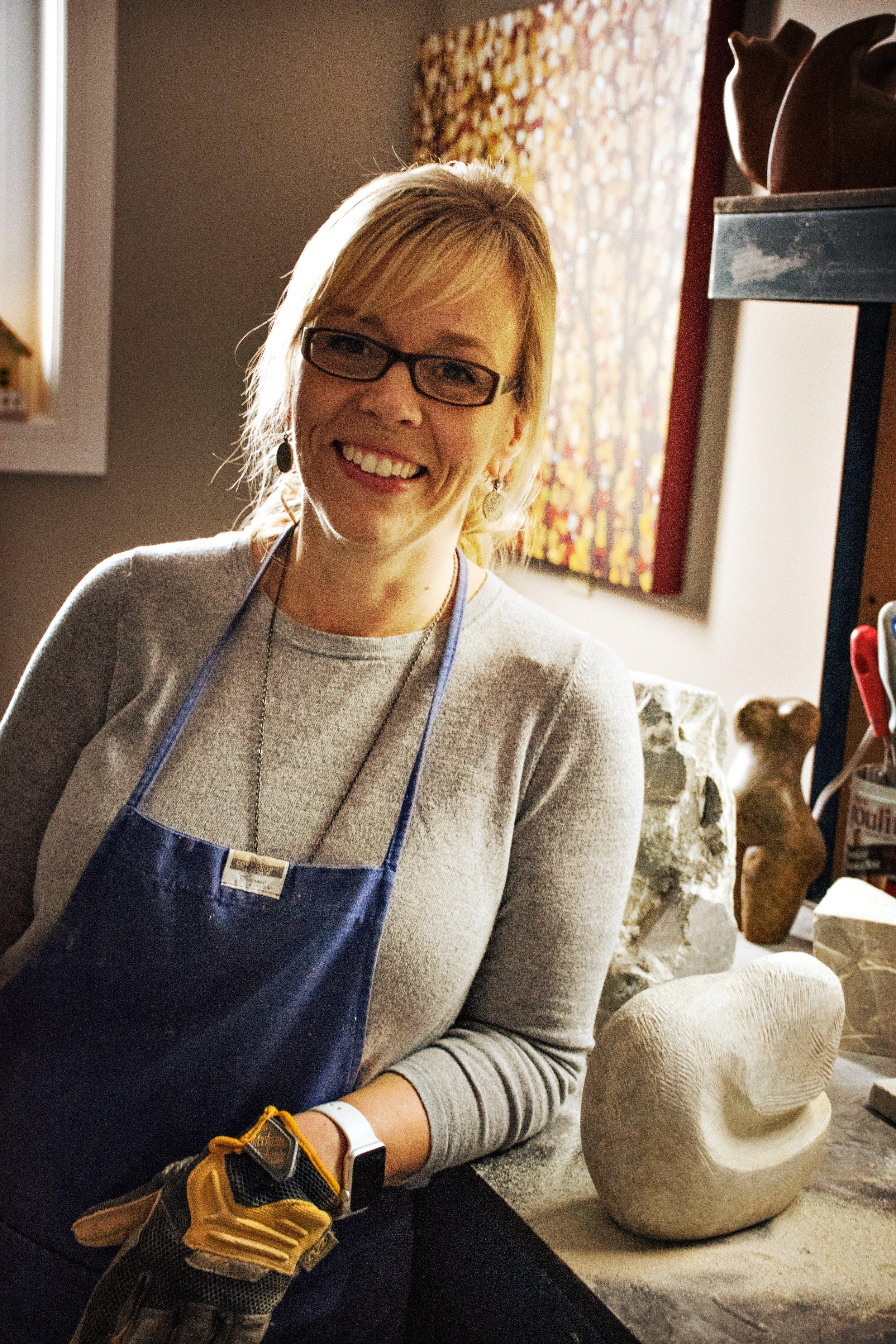Lisa Douziech in her carving studio.
