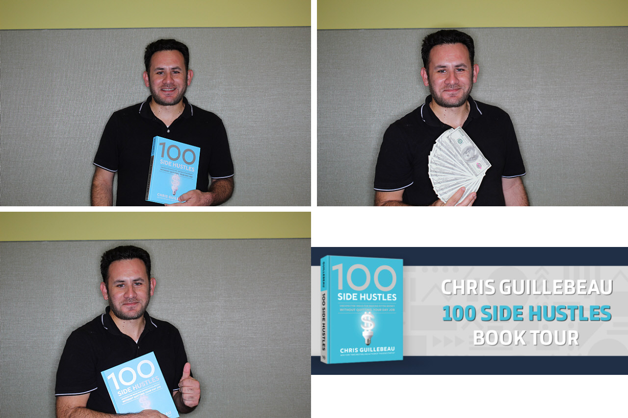 PhotoBooth pics with 100 Side Hustles Book during the official launch of the book,                                                    June 4th, 2019 at Santa Monica Library!