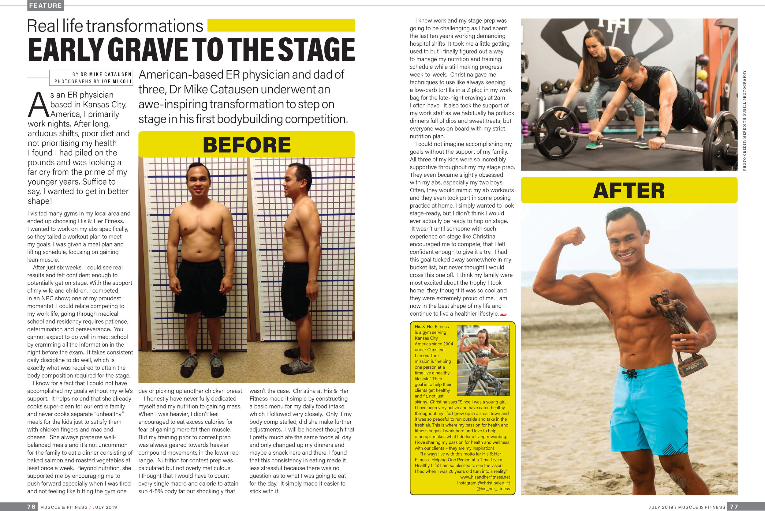 Tearsheet from Muscle & Fitness UK featuring Christina Larson and client Michael in July 2019 issue.