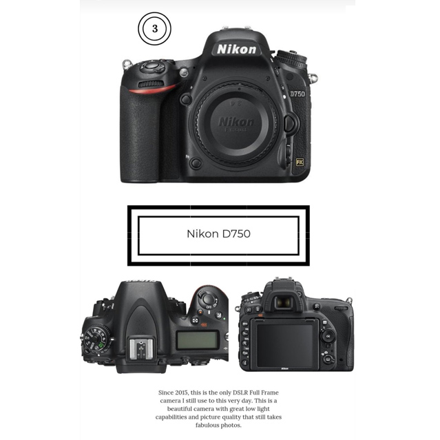 Nikon DSLR camera d750 photography product
