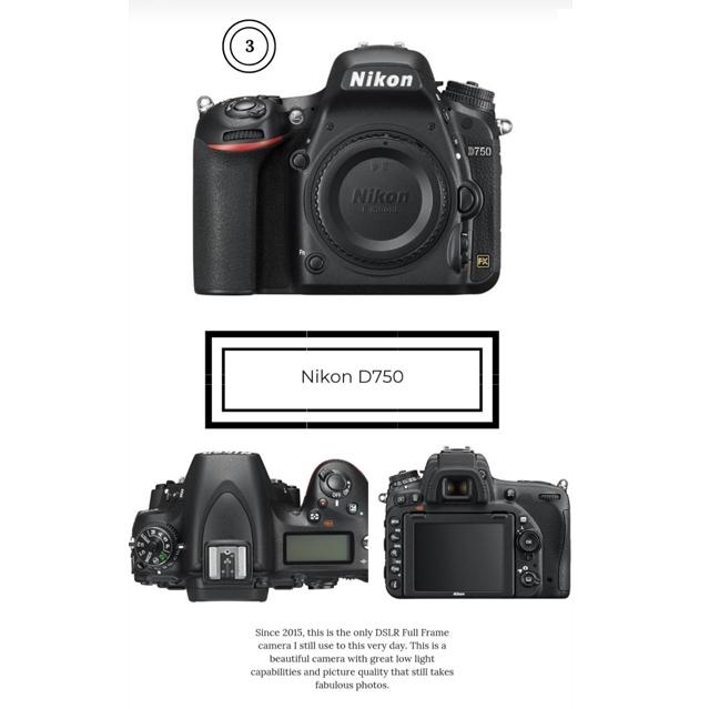 Nikon DSLR camera d750 photography product