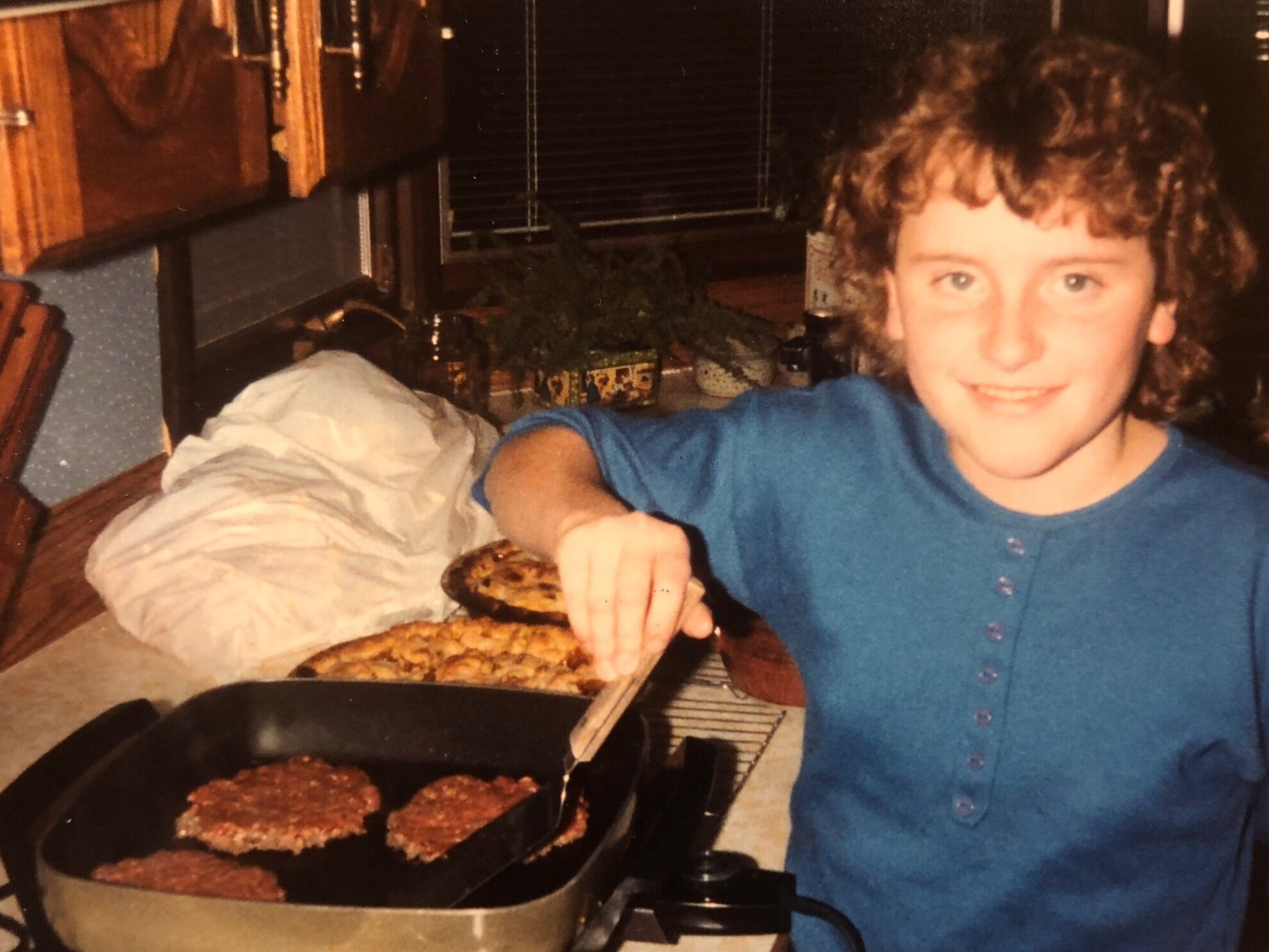 Ten year-old me just casually frying up some burgers on a Friday night, as you do. Also, pie.