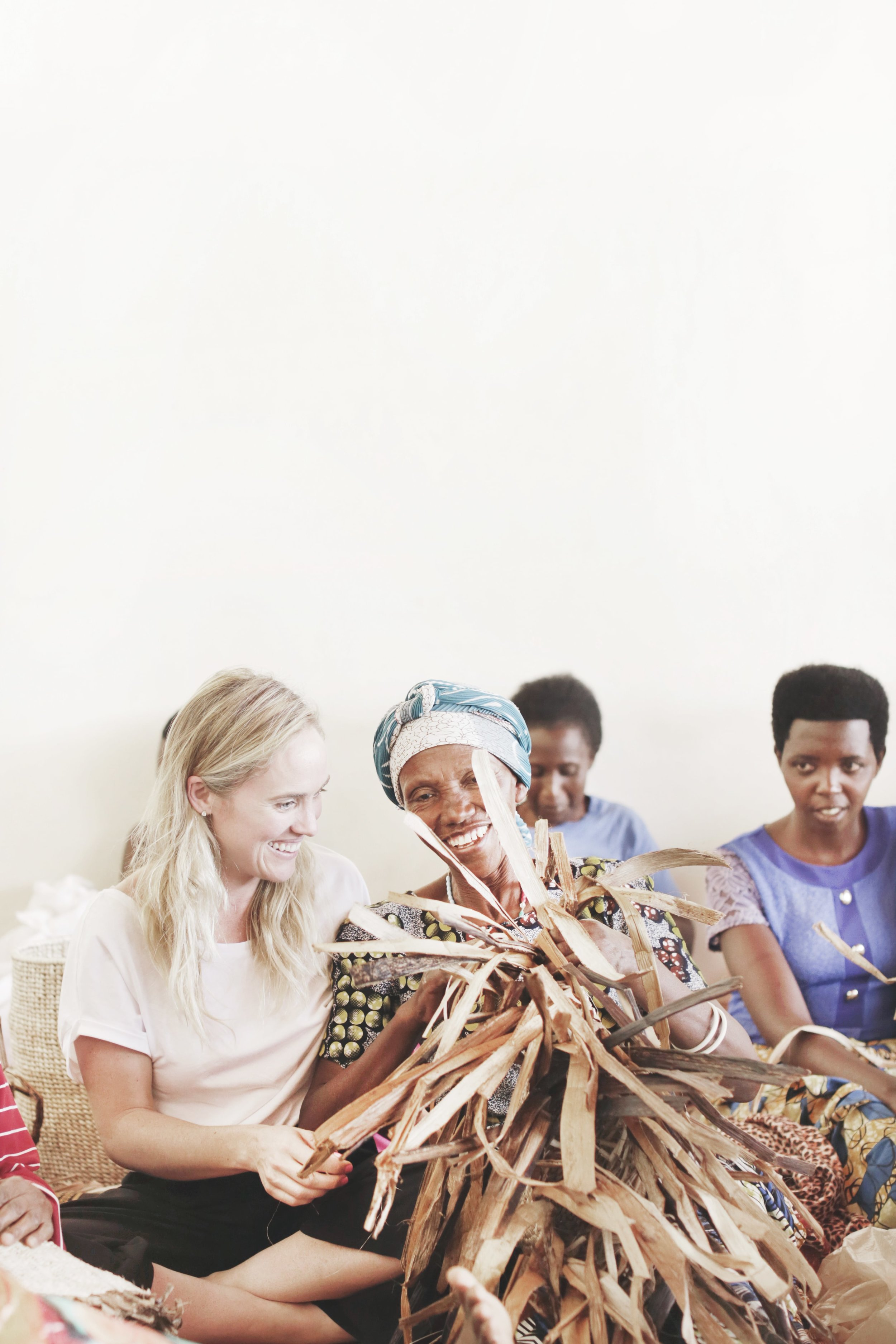 Deirdre working with the artisans on site in Rwanda