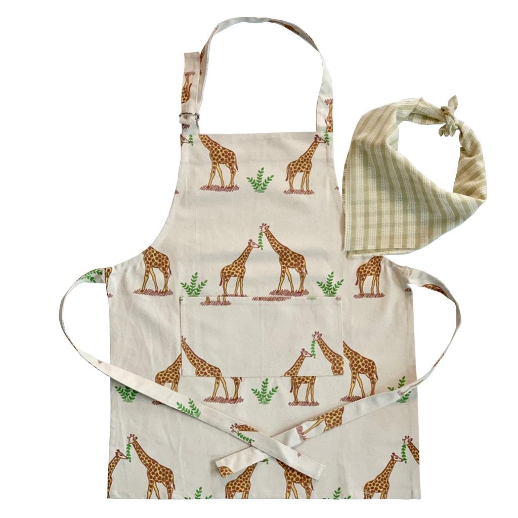Children's Apron + Bandana Set - Giraffe  $32