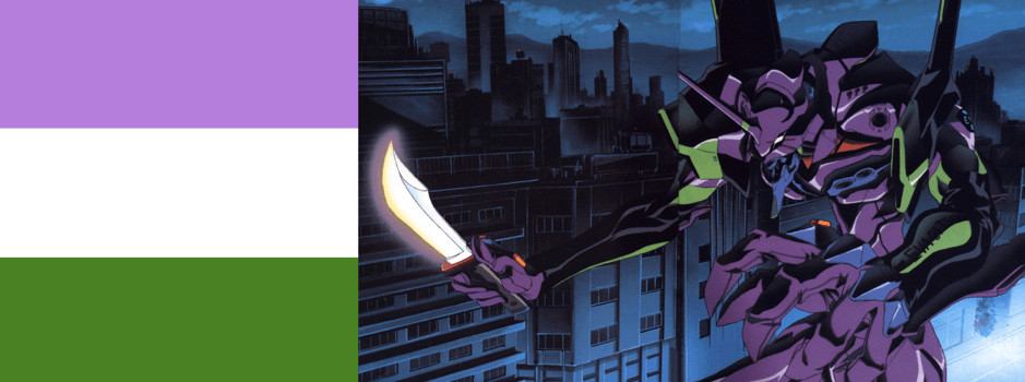 [Image description: the purple, green, and white genderqueer flag beside an image of the purple and green robot Eva 01 brandishing a glowing white sword]