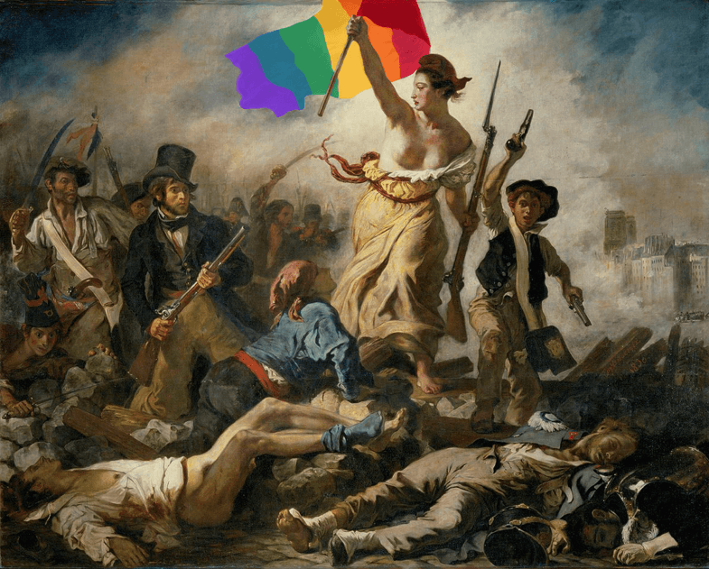 [Image description: Eugène Delacroix's 'Liberty Leading the People', depicting a personification of Liberty leading a bunch of bedraggled revolutionaries over a battlefield, with the flag of the French Revolution replaced by a rainbow pride flag]