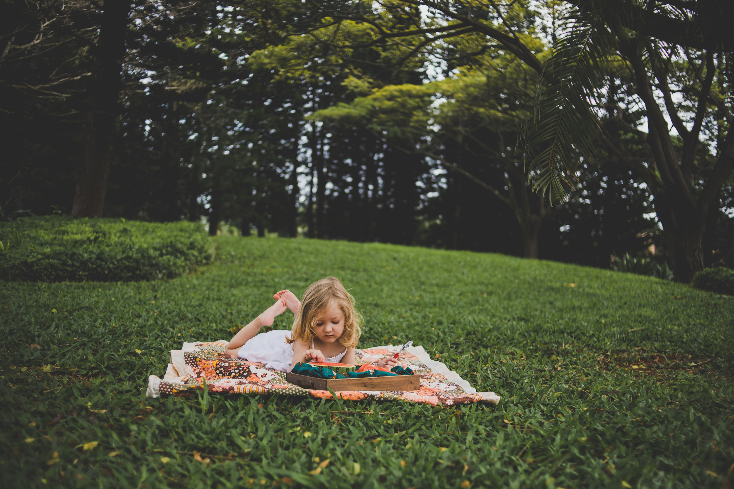 Saint Charles, MO Children Photography, little girl laying in the grass with some watermelon