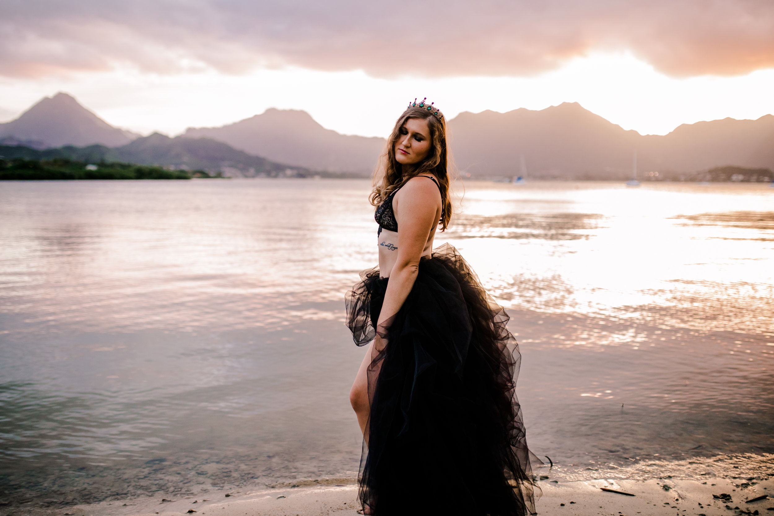 Beauty and Boudoir Photography, woman in black lingerie on the lake shore