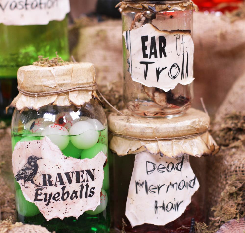 Raven eyeballs! Toy plastic eyeballs, water, and green food coloring. Eek!