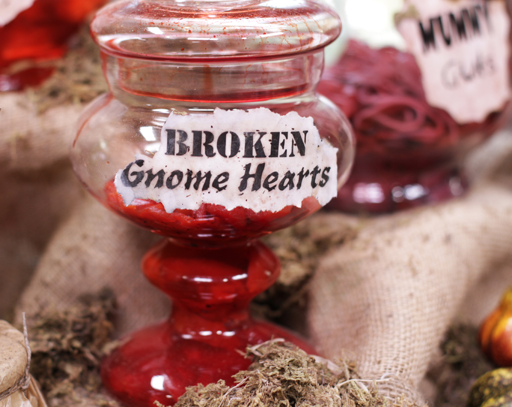 Gnome hearts! This is a jar of roasted red peppers with a couple extra drops of red food coloring.
