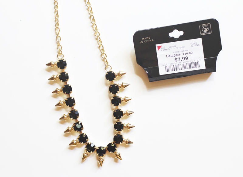 I found this necklace at Burlington coat factory for $8. It even came with two earrings! Studded jewelry is really in right now and I thought it would look great with the yellow clutch I had.