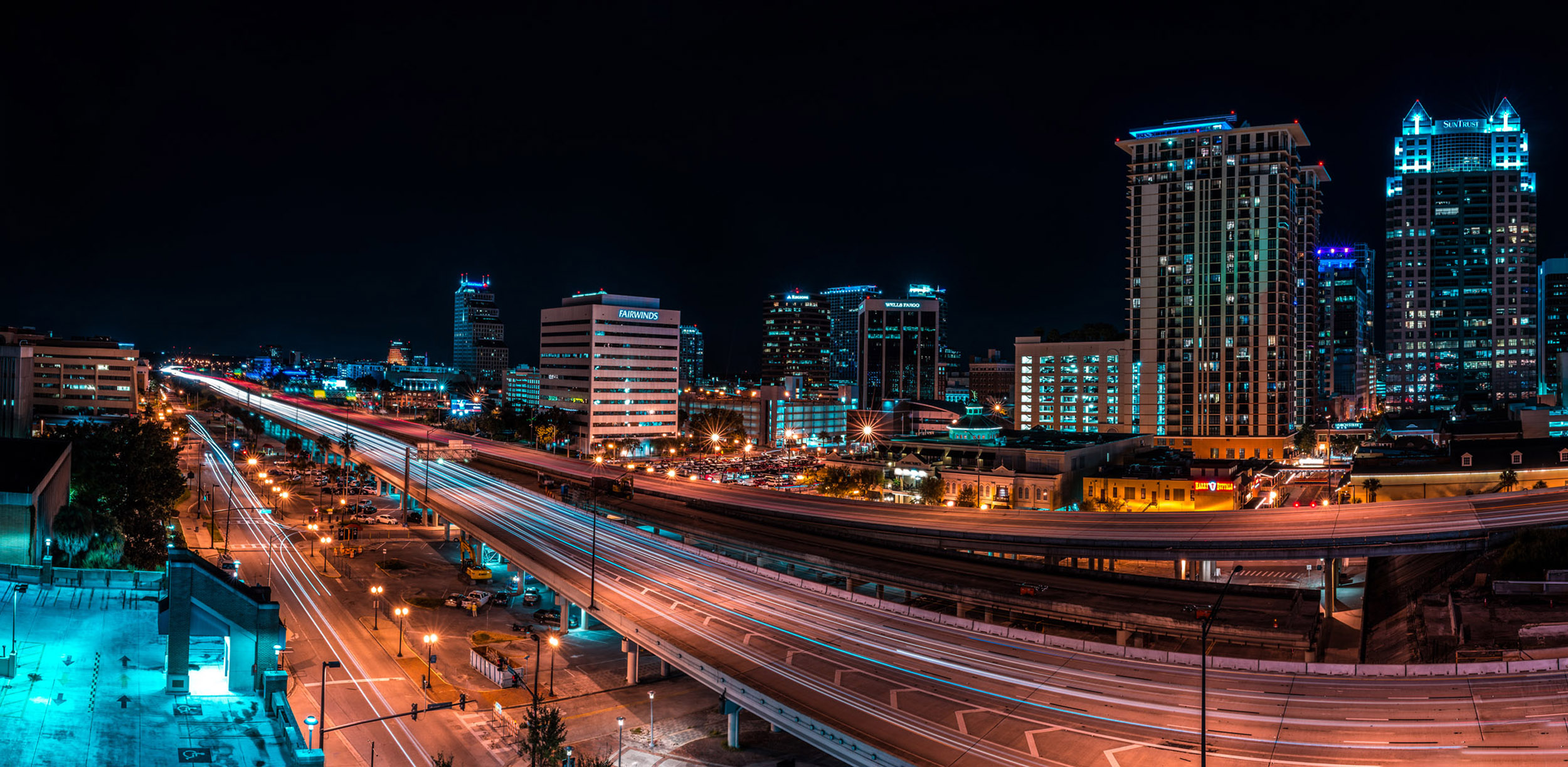 Orlando - A long exposure of Interstate 4 through the heart of downtown Orlando. This was taken from the lounge on top of the arena.