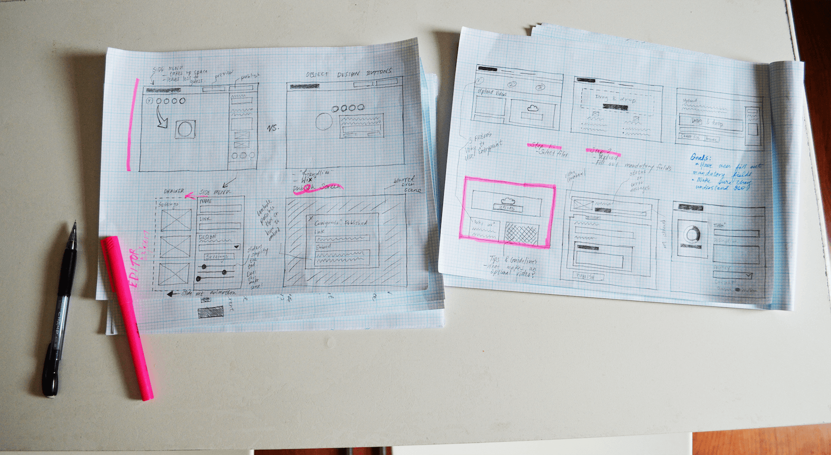 Early sketches of the editing platform.
