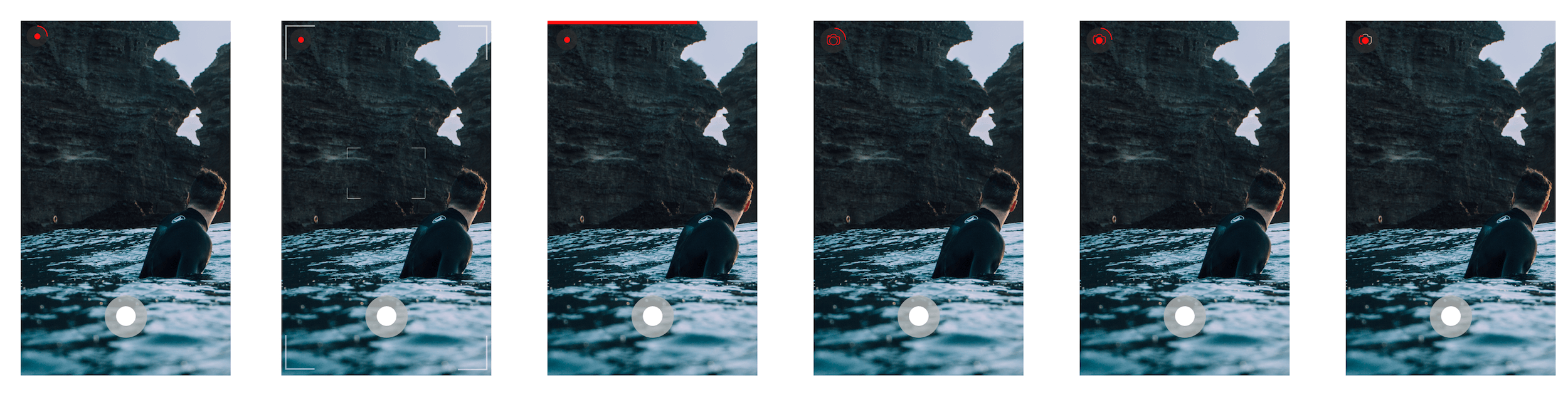 Iterating different options for GIF capture animations.