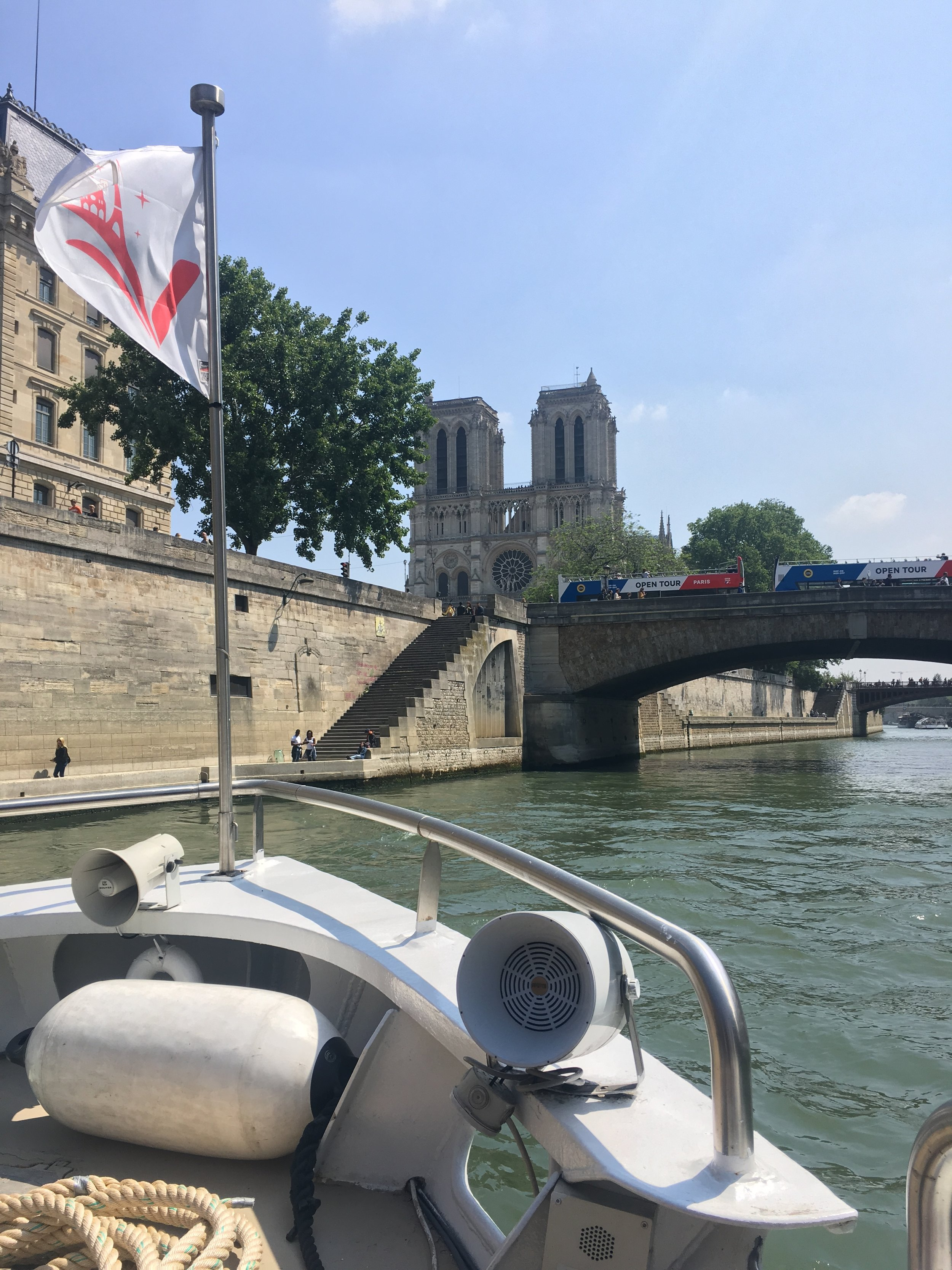 We took a boat from the Eiffel Tower down to Nôtre Dame Cathedral.