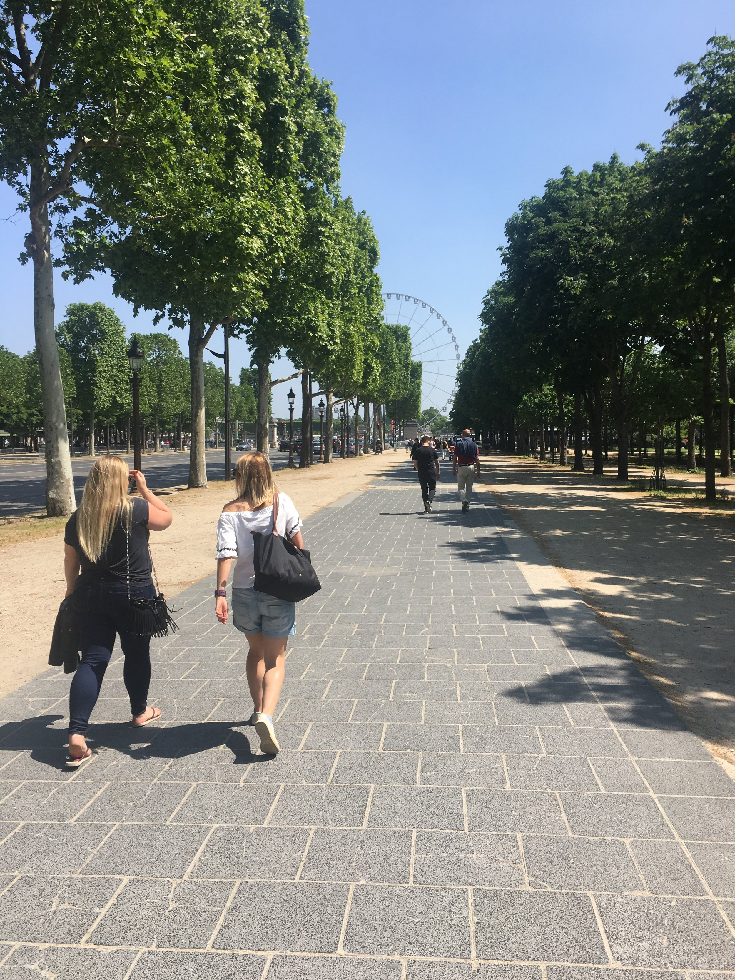 We walked so much on this trip and it was wonderful in the sun. This is park leading up the the Champs Elysée and the Ferris Wheel.