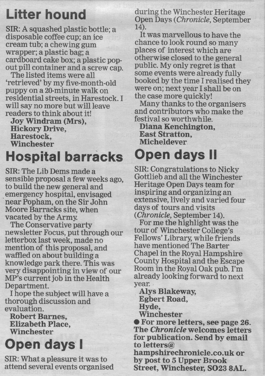 Hampshire Chronicle feature from 21st September 2017