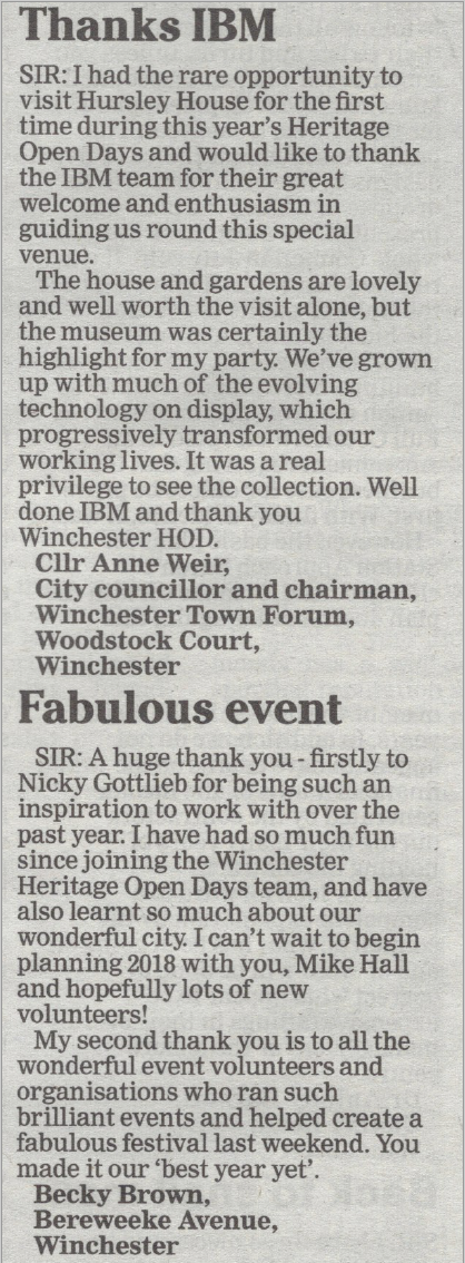 Hampshire Chronicle feature from 14th September 2017