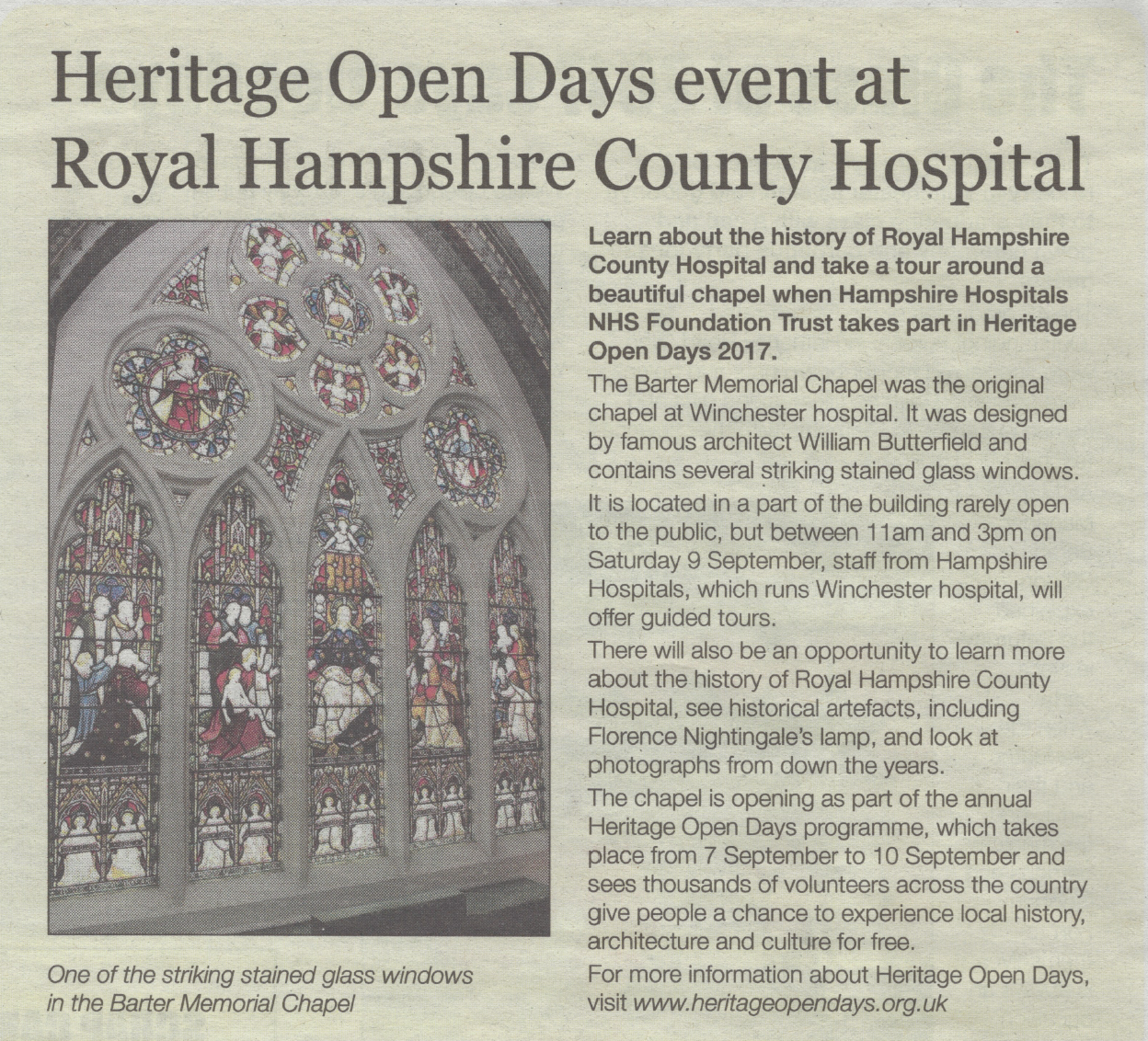 Mid Hants Observer feature from 30th August 2017