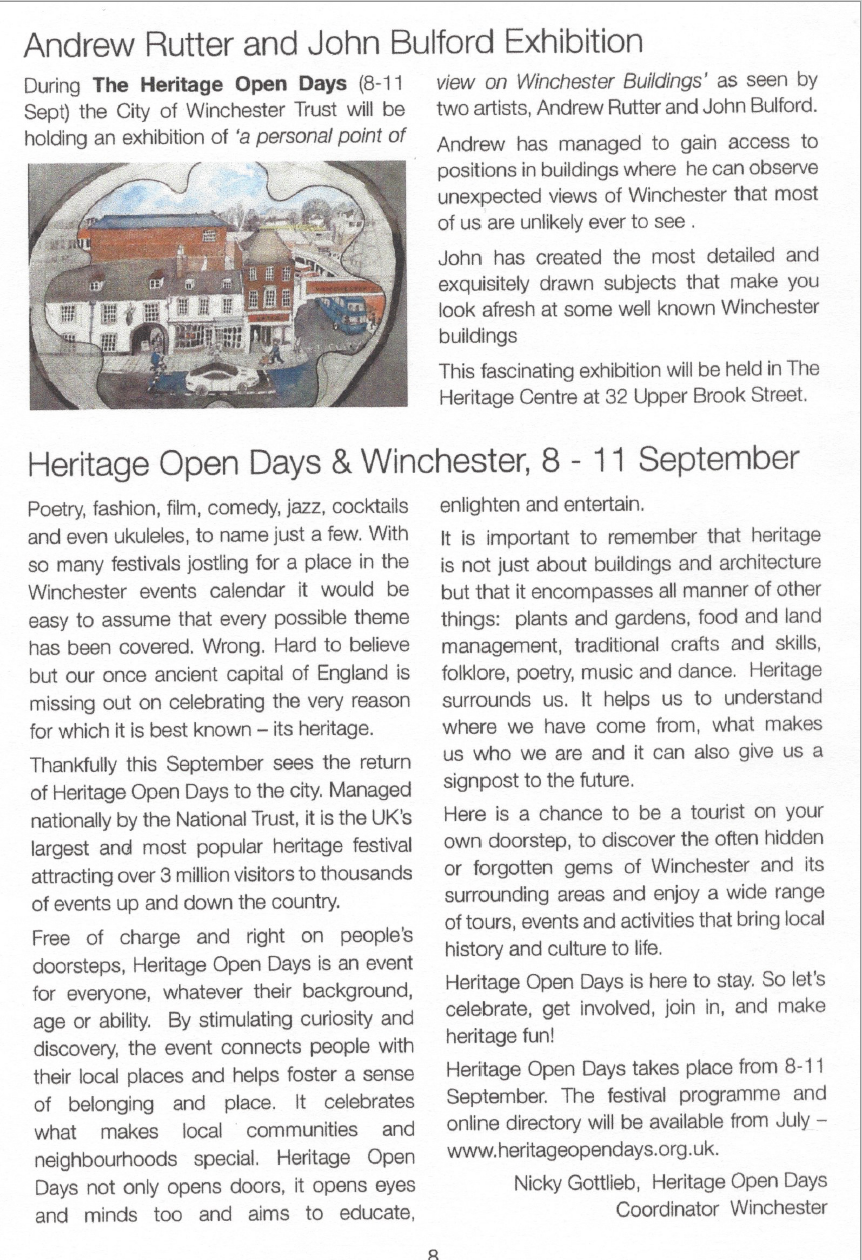 City of Winchester Trust News feature from June 2016