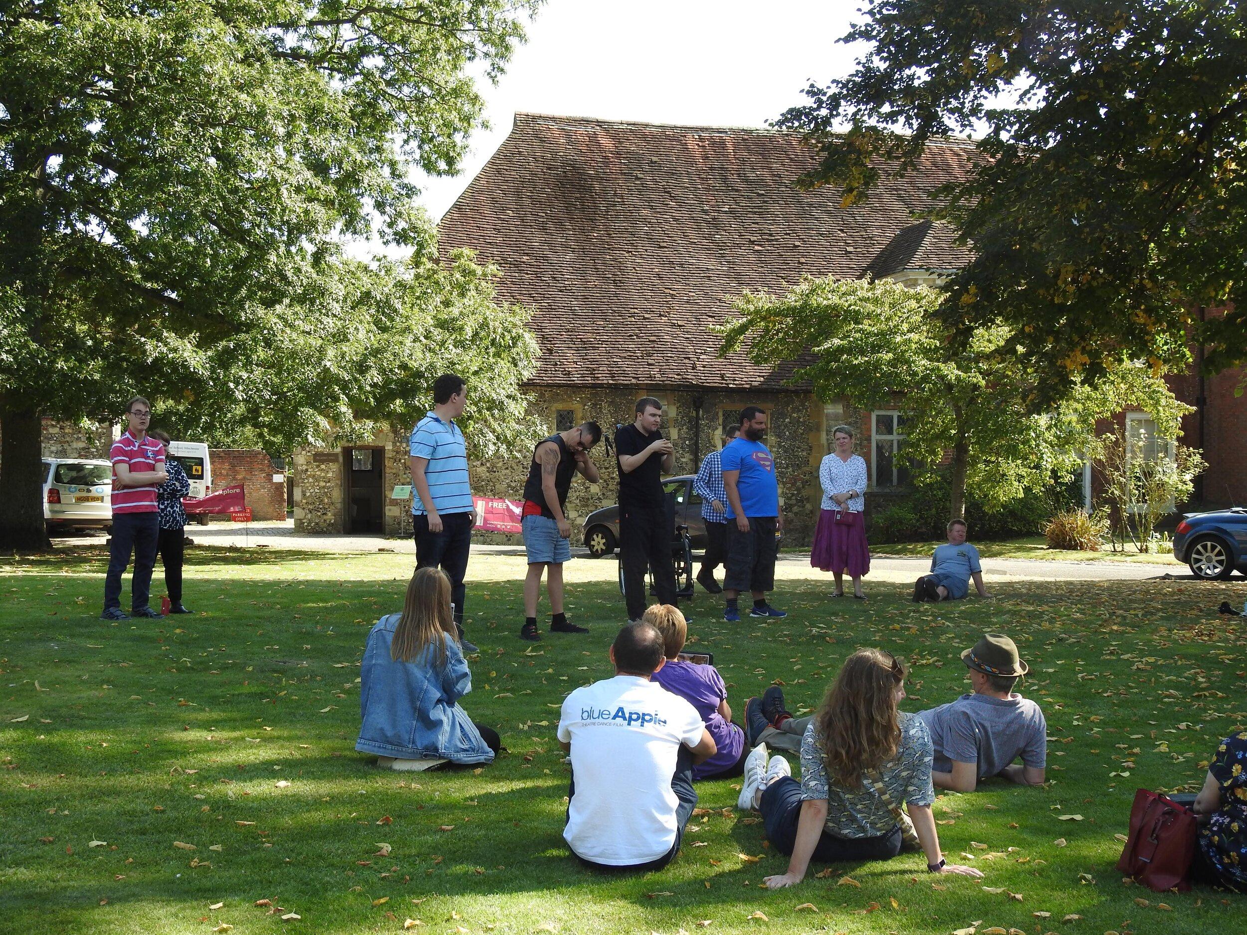 Blue Apple performing outside Pilgrim's Hall